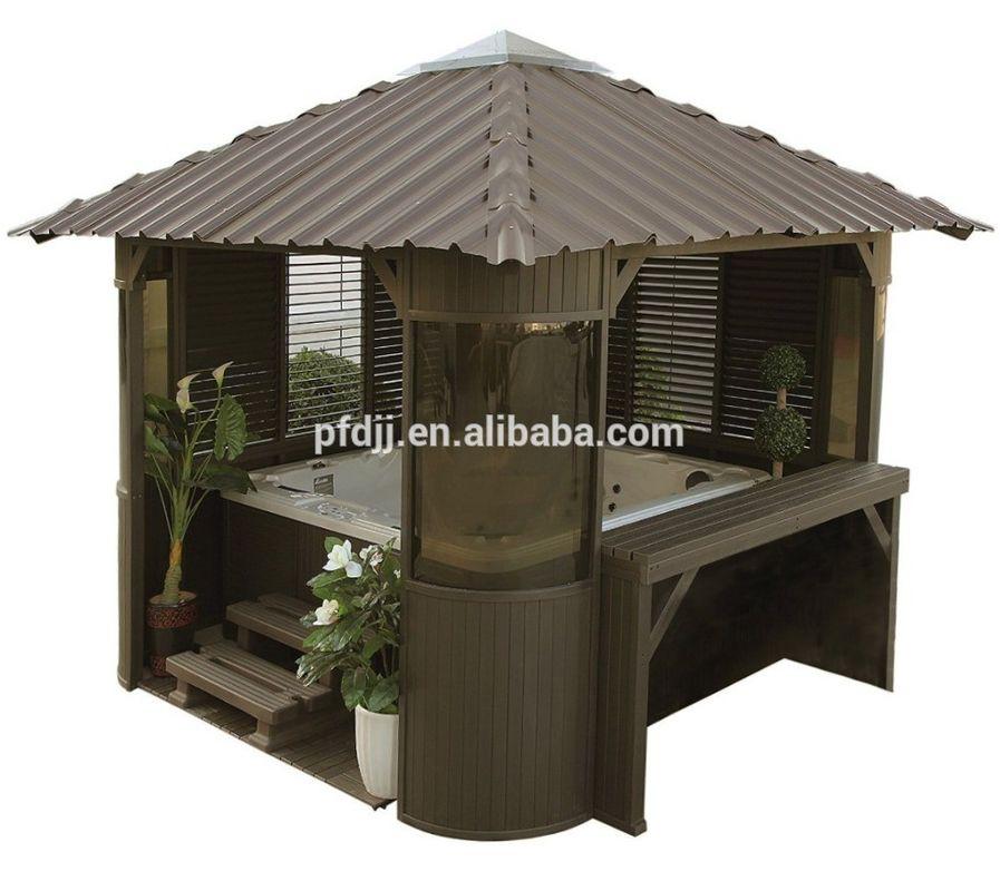 Garden Solid Wood Outdoor Spa Gazebo Glass Sail Material Enclosed Spa Gazebo